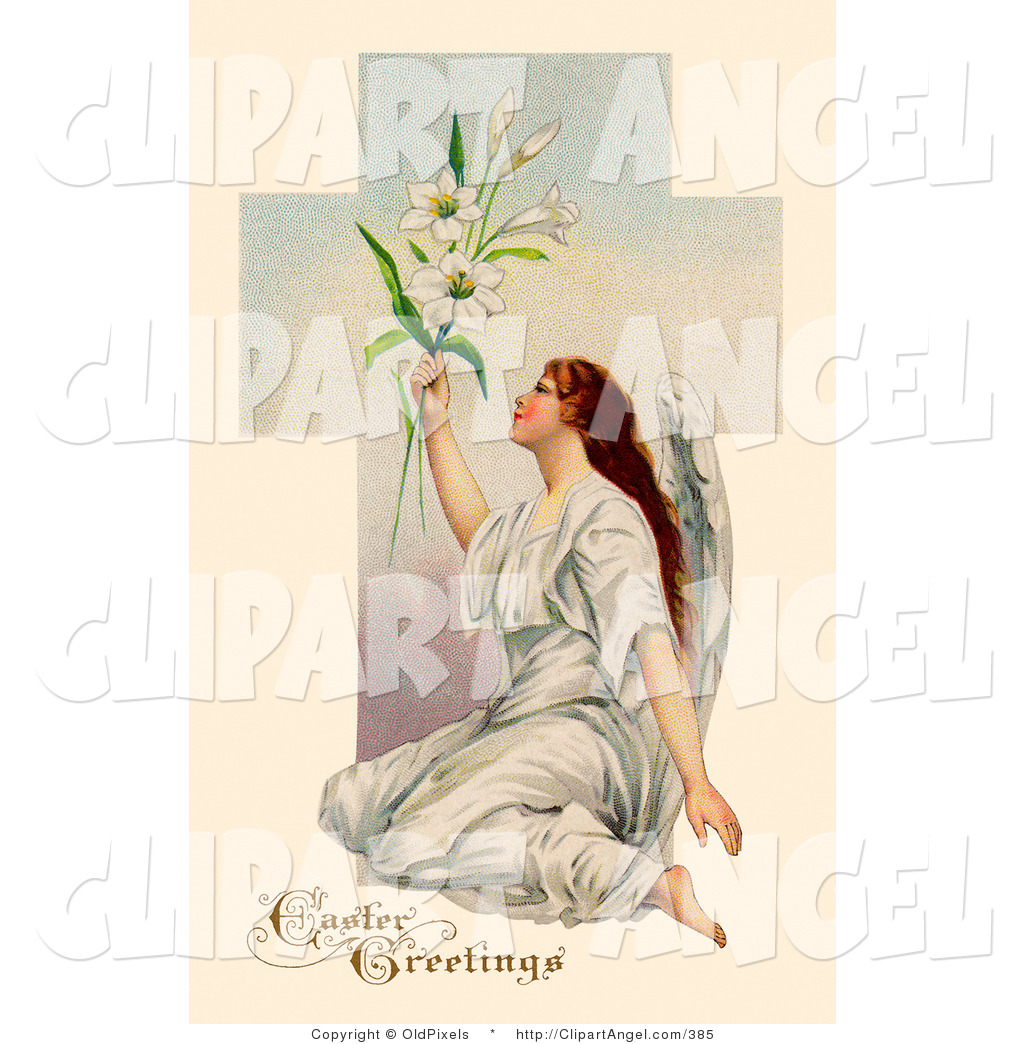 lilies in front of a cross angel clip art oldpixels