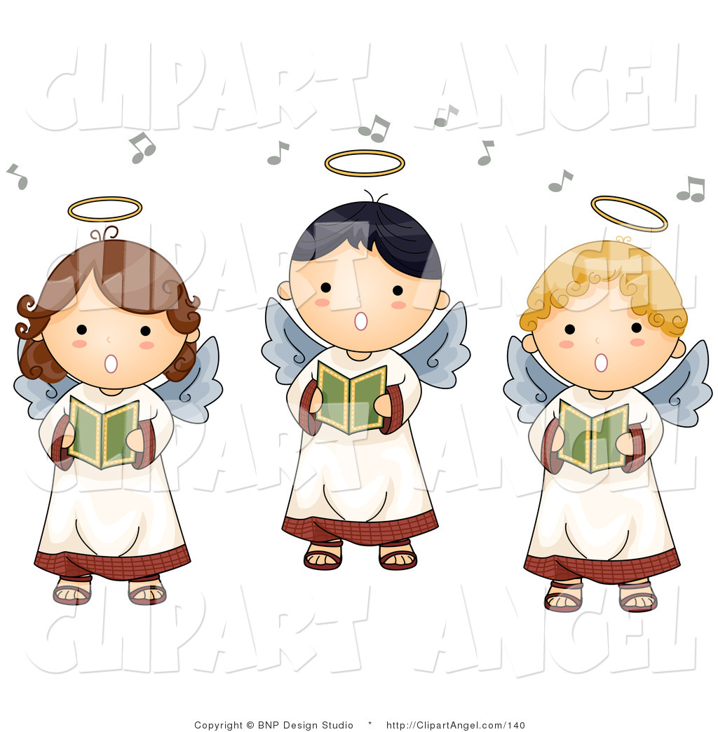 Illustration of three innocent singing angels by bnp for Angel clipart