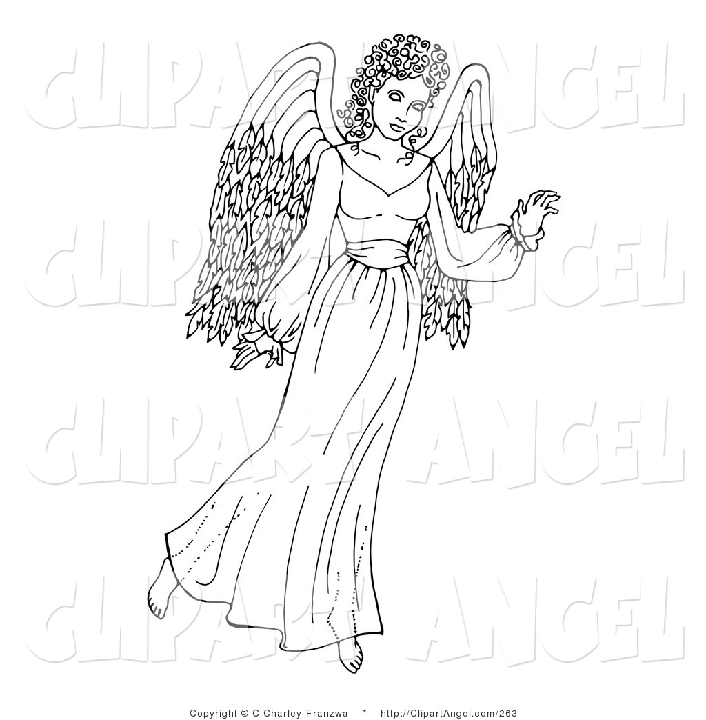 Printable coloring pages angels - Coloring Page Of An Angel Gesturing With One Hand