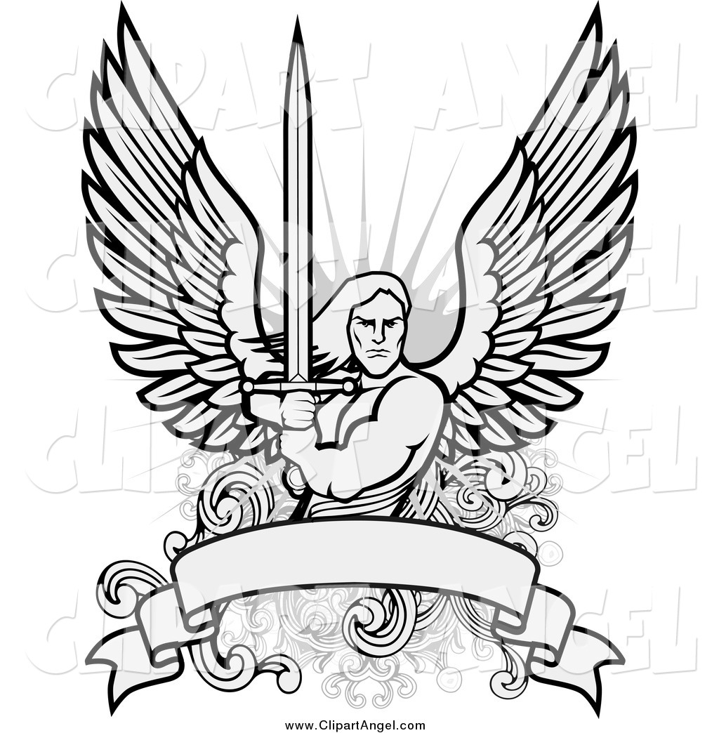 guardian angel coloring page - guardian angel with sword coloring pages