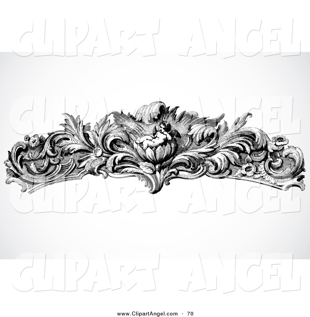 Illustration Vector of an Black and White Floral Cupid ...