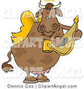 Illustration Cartoon of a Cupid Brown Angel Cow Playing a Small Golden Harp by Djart