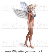 Illustration of a 3d Blond White Female Angel or Fairy Standing in a Bikini by Ralf61