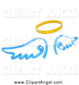 Illustration of a 3d Halo and Blue Angel Wings by KJ Pargeter