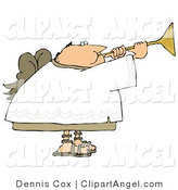 Illustration of a Balding Male Angel Blowing a Trumpet by Djart