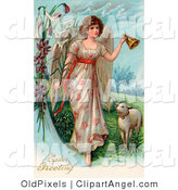 Illustration of a Beautiful Caucasian Victorian Easter Angel Ringing a Bell and Leading Sheep by OldPixels