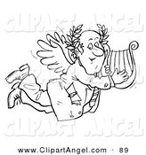Illustration of a Black and White Coloring Page Outline of a Businessman Angel with a Lyre by Alex Bannykh