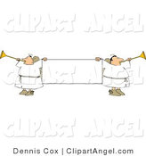Illustration of a Blank Banner Flocked with Angles Playing Horns by Djart