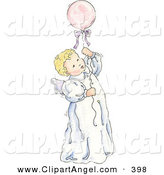 Illustration of a Blond Caucasian Baby Girl Floating Upwards with a Balloon by Gina Jane