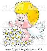 Illustration of a Blond Cherub Angel Surrounded by White Daisies by Alex Bannykh