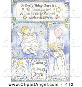 Illustration of a Blue Newborn Baby Book Page with Angels by Gina Jane