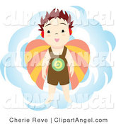 Illustration of a Boy Angel and Blue Sky by Cherie Reve