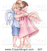 Illustration of a Caucasian Boy and Girl Angel Hugging by Gina Jane
