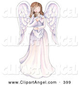Illustration of a Caucasian Mother Angel Holding a Baby by Gina Jane
