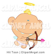 Illustration of a Cute Angel Cupid AIming by Hit Toon