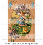 Illustration of a Cute Little Victorian Angel Surrounded by Chicks, Kneeling and Gathering Easter Eggs in Her Gown by OldPixels