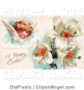 Illustration of a Cute Victorian Cherub Angel Flying near White Easter Lily Flowers by OldPixels