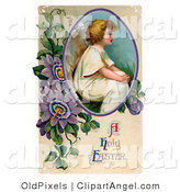 Illustration of a Cute Victorian Easter Cherub Angel Seated in a Circle with Purple Passion Flowers by OldPixels
