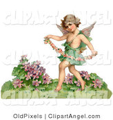 Illustration of a Cute Vintage Valentine of a Cupid Playfully Running Through a Garden and Carrying a Garland of Flowers, Circa 1888 by OldPixels