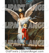 Illustration of a Cute Vintage Valentine of a Female Guardian Angel Guiding a Little Girl in a Red Dress Across a Dangerous Log Bridge over a Gorge, Circa 1890 by OldPixels