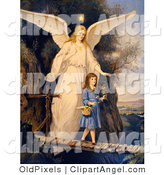 Illustration of a Cute Vintage Valentine of a Female Guardian Angel Protecting a Little Girl As She Crosses a Gorge on a Narrow Bridge, Carrying a Basket and Flowers, Circa 1890 by OldPixels