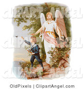 Illustration of a Cute Vintage Valentine of a Female Guardian Angel Watching over a Little Boy As He Picks Flowers and Chases Butterflies at the Edge of a Cliff, Circa 1890 by OldPixels