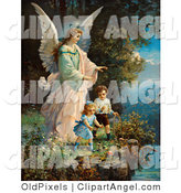 Illustration of a Cute Vintage Valentine of a Female Guardian Angel Watching over Two Little Children As They Play with a Ball and Hoop at the Edge of a Cliff, Circa 1890 by OldPixels