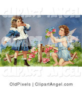 Illustration of a Cute Vintage Valentine of a Surprised Little Girl Leaning Back While Cupid Kneels Before Her, Offering Her Flowers in a Garden, Circa 1905 by OldPixels