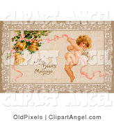 "Illustration of a Cute Vintage Valentine of Cupid Flying and Tugging on a Pink Ribbon Connected to Golden Ringing Bells with Text Reading ""My Heart's Message"" Circa 1910 by OldPixels"