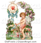 Illustration of a Cute Vintage Valentine of Cupid Resting His Bow on the Ground in a Flower Garden Circa 1890 by OldPixels
