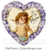 July 11th, 2012: Illustration of a Cute Vintage Valentine of Cupid Smiling Inside a Purple Floral Forget Me Not Heart, Circa 1890 by OldPixels