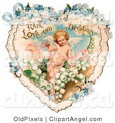 Illustration of a Cute Vintage Valentine of Cupid with Ribbons, Prancing in White Lily of the Valley Flowers on a Lacy Heart with Forget Me Not Flowers, Circa 1890 by OldPixels