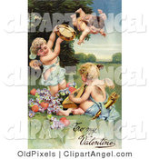Illustration of a Cute Vintage Valentine of Three Cherubs, One Flying, Playing Tambourines and Mandolins with Hearts and Purple Flowers, Circa 1906 by OldPixels