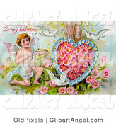 July 5th, 2012: Illustration of a Cute Vintage Valentine of Three White Doves Flying Around Cupid Aiming an Arrow at a Heart Made of Pink Poppies and Blue Forget Me Nots, Circa 1910 by OldPixels
