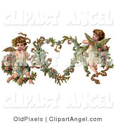 Illustration of a Cute Vintage Valentine of Two Adorable Cupids with Roses Beside a Gilded Forget Me Not Valentine Heart Wreath by OldPixels