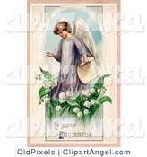 Illustration of a Cute Young Victorian Easter Angel Carrying a Scroll and Walking in Lily of the Valley Flowers by OldPixels