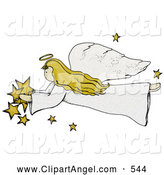 Illustration of a Folk Art Styled Angel with Stars Flying Left by Inkgraphics