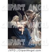 Illustration of a Group of Beautiful Angels Playing Music for a Newborn Baby by JVPD