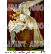 Illustration of a Guardian Angel Rocking a Baby Cradle by JVPD