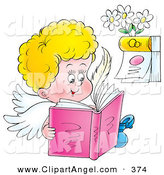 Illustration of a Happy Cherub Angel Reading a Book near a CalendarHappy Cherub Angel Reading a Book near a Calendar by Alex Bannykh