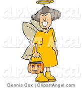 Illustration of a Happy Girl Wearing Halloween Angel Costume While Trick-or-treating by Djart