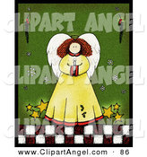Illustration of a Happy White Angel with Stars, Holding a Candle over Green by Inkgraphics