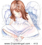 Illustration of a Lonely Young Girl Angel Sitting and Looking down at Her Feet by