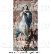 Illustration of a Mary As the the Immaculate Conception, Surrounded by Cherubs by JVPD
