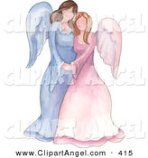 Illustration of a Mother and Daughter or Sister Angels Standing Together and Holding Hands by Gina Jane