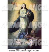 Illustration of a Mother of Jesus, Mary, As the Immaculate Conception with Angels by JVPD