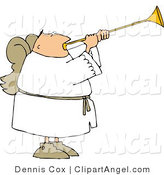 Illustration of a Musical Angel Blowing a Horn by Djart
