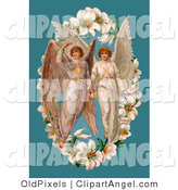 August 28th, 2012: Illustration of a Pair of Victorian Angels in the Center of an Easter Lily Garland, over a Blue Background by OldPixels