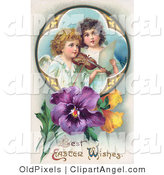 Illustration of a Pair of Young Victorian Angels Singing and Playing Easter Music with a Violin, in a Circle with Pansies by OldPixels