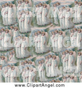 Illustration of a Pattern of Victorian Angels by Prawny Vintage